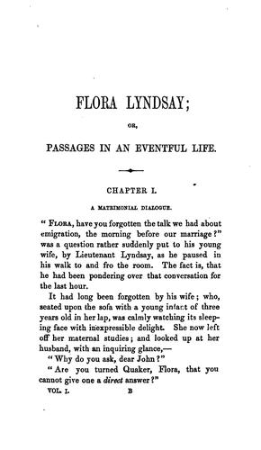 Flora Lyndsay; or, Passages in an eventful life