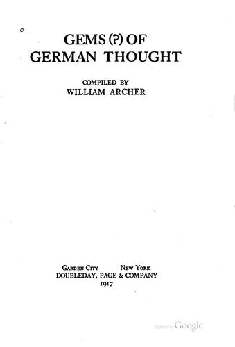 Gems (?) of German Thought