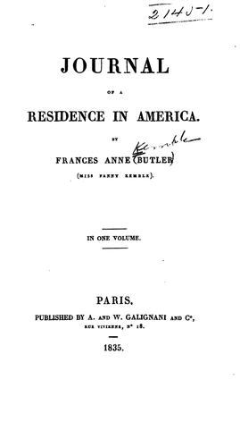 Journal of a Residence in America