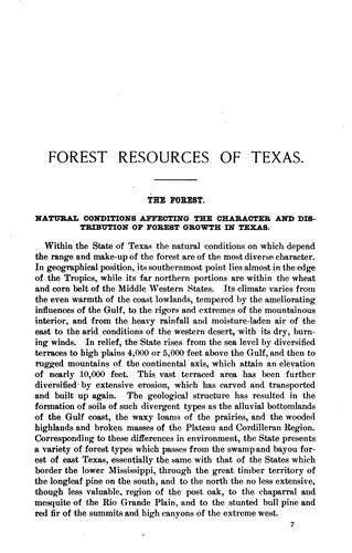 Forest Resources of Texas by William L. Bray