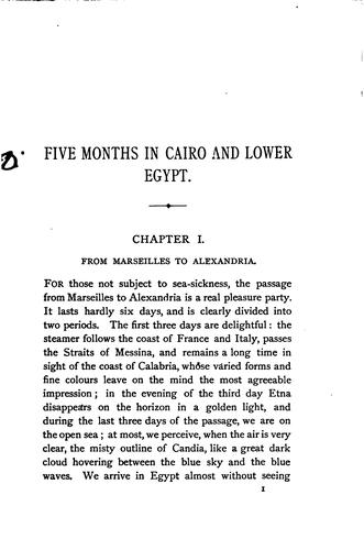 Five months at Cairo and in Lower Egypt, tr. by W. Conn, with additional notes by the author by Gabriel Charmes