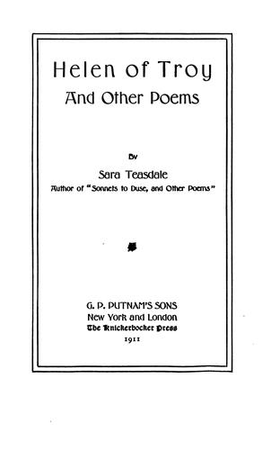Helen of Troy, and other poems by Sara Teasdale