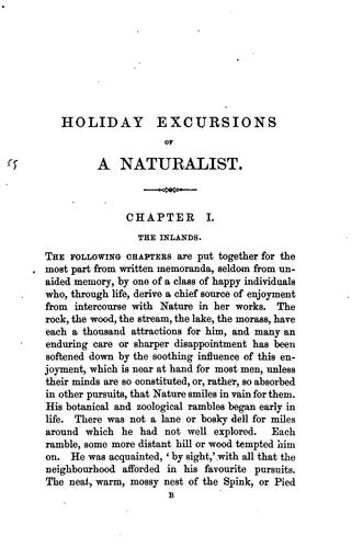 Holiday excursions of a naturalist [by R. Garner] by Robert Garner